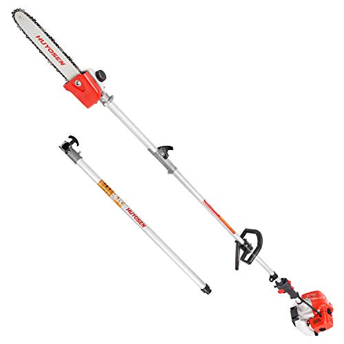 HUYOSEN Pole Saws Powerful Gas Pole Chainsaw 45CC 2-Cycle 8.2 FT to 11.4 FT Multi-Tool Cordless Extension Pole Saw for Tree Trimmer Long Reach Saw with Carry Bag