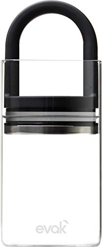 Best PREMIUM Airtight Storage Container for Coffee Beans, Tea and Dry Goods - EVAK - Innovation that Works by Prepara, Glass and Stainless, Soft Touch Black Handle, Medium -