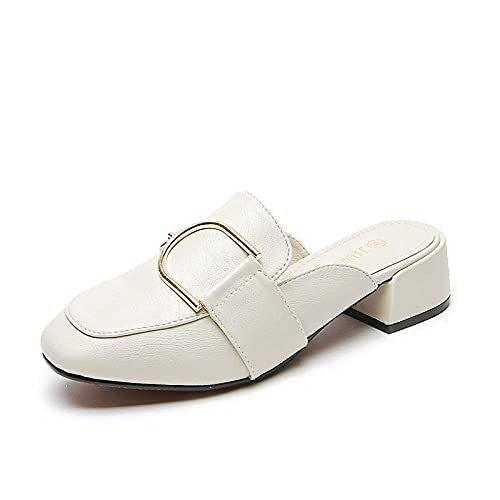 ypyrhh Verano de Las Mujeres Casual Chanclas,Use Zapatos de Muller Salvaje,Grueso con Bolsas y Zapatos Semi-barridos.-Albaricoque_36,Sandalias con Plataforma Plana Hombre