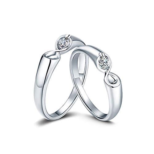 KnSam Anillo Oro de 18K, Numero 8 Anillo de Compromiso con Diamante Blanco 0.14ct, Mujer Talla 13 y Hombre Talla 30 (Precio por 2 Anillos)