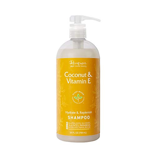 RENPURE Plant Based Coconut & Vitamin E Shampoo for Dry Hair - Sulfate Free Shampoo, Paraben Free & Color Safe - Naturally Moisturizing Coconut Hydrating Shampoo for Men & Women
