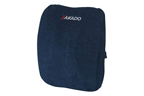 AKADO Lumbar Support Pillow Memory Foam Breathable Mesh Cover Soft Seat Cushion for Recliner, Office Chair Relieves Back Pain & Improves Sitting Posture, Car Seat, Wheelchair-Navy Blue,42 x 30 x 8cm
