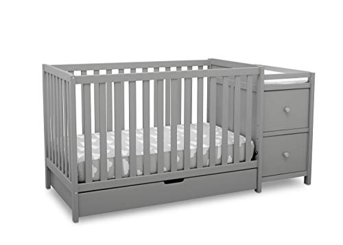 Delta Children Heartland Convertible Crib and Changer with Drawer, Grey