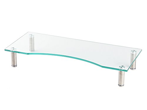 【グリーンウィーク】 厚8mm 強化ガラス PC/TV ディスプレイ モニター 机上台 幅560mm キーボード収納 高さ...
