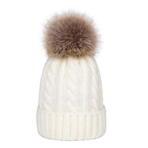 Lau's Gorros con pompon niñas - Gorros de invierno Sombreros con borla Blanco