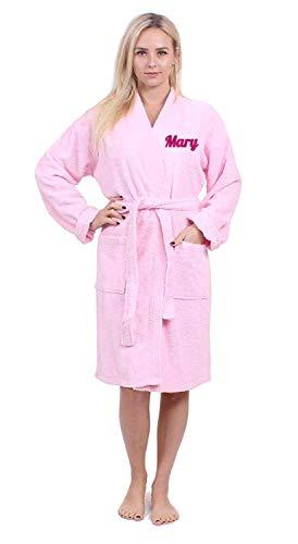 Turkuoise Women's Personalized for Christmas Terry Cloth Robe Turkish Cotton Terry Kimono