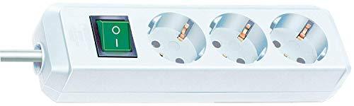 Brennenstuhl Eco-Line, Steckdosenleiste 3-fach (Steckerleiste mit erhöhtem Berührungsschutz, Schalter und 1,5m Kabel) weiß