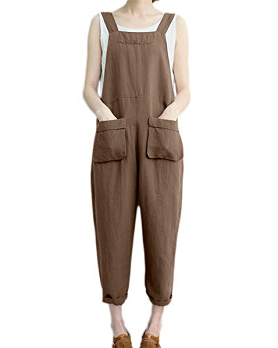 VONDA - Mono pantalón, holgado, con tirantes, para mujer, peto de estilo informal, de algodón D-kaki XXXXXL