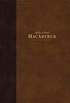 NBLA Biblia de Estudio MacArthur Leathersoft Café Interior a dos colores  Spanish Edition