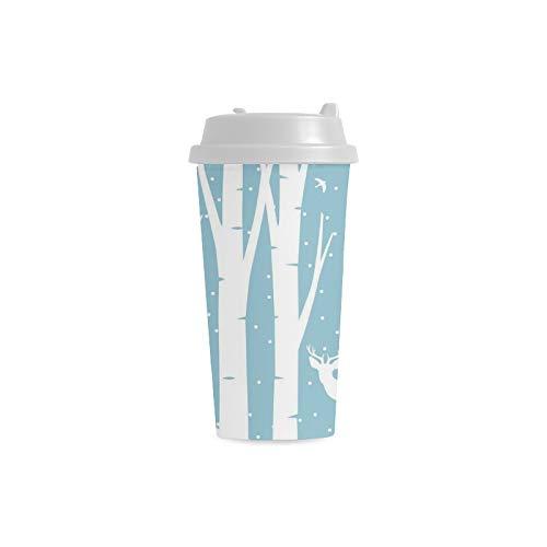 Paesaggio innevato Inverno Stampa 16 Oz Doppia parete di plastica isolato Sport bottiglia d'acqua Coppe Pendolari di viaggio Tazze di caffè per studenti donne Milk Teacup
