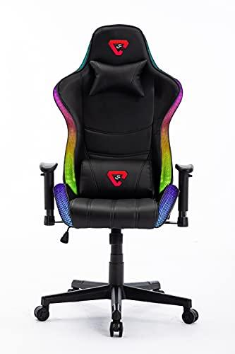 Silla Gaming RGB. Silla Escritorio con Luces LED. Silla butaca Gaming RGB. Sillon Gamer, computadora con Luces LED (Logo LC...