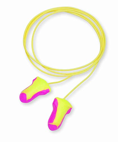 Foam Ear Plugs,Reusable,T-Shape,Corded,100/BX,Pink/Yellow, Sold as 1 Box