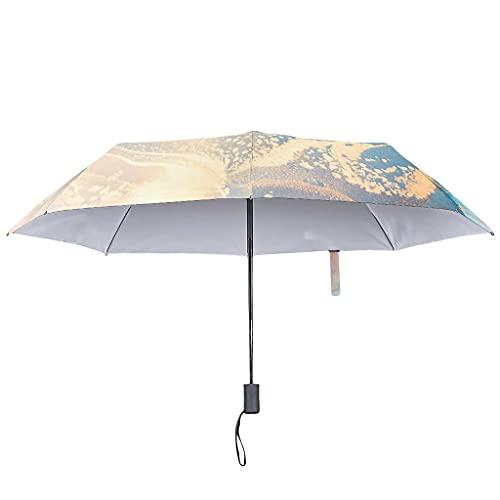Paraguas de lluvia de tinta con textura de mármol, apertura automática, paraguas inverso a prueba de viento, White (Blanco) - LL·Shawn-UBR