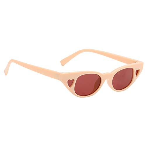 freneci Gafas de Sol de Ojo de Gato para Mujer Retro Vintage Love Heart Shades Eyewear Festivals - Naranja beige, tal como se describe