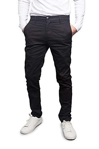 Victorious Men's Basic Casual Slim Fit Stretch Chino Pants DL1250 - Black - 34/30 - L