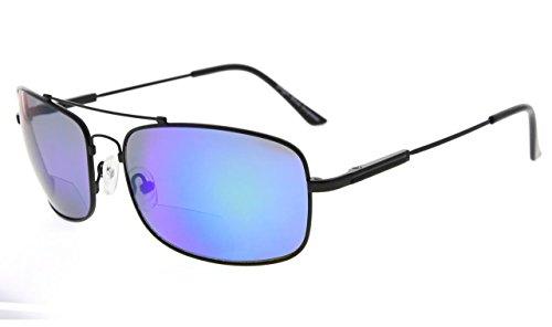 Eyekepper Bifokal Sonnenbrille mit biegsamer Brücke und Bügel Erinnerung Lesen Sonnenbrille Leicht Titan (Schwarz Rahmen Green Spiegel, 2.50)