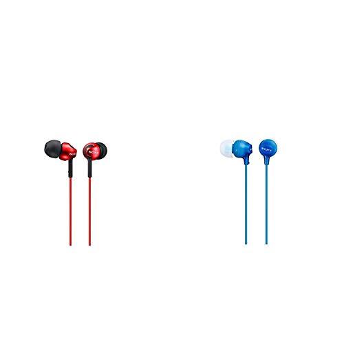 Sony MDR-EX110LP Cuffie In-Ear, Auricolari in Silicone, Rosso & Mdr-Ex15Lp - Cuffie In-Ear, Auricolari in Silicone, Blu