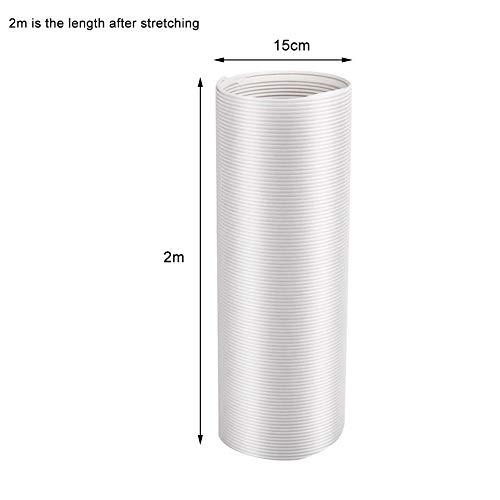Draagbare airconditioning slang, afvoerslang verlenging PP Ø13/15 cm, diameter 5,1-5,9 inch met lengte 59-78 inch voor mobiele airconditioning, wasdroger, afzuigkap 2m Ø15 cm Een