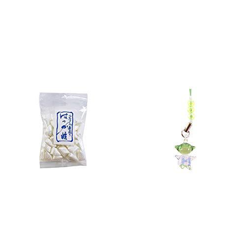 [2点セット] シルクはっか糖(150g)・ガラスのさるぼぼ 手作りキーホルダー 【緑】 /健康運・平穏・病気を寄付けない・健康祈願//