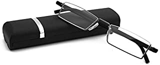 b3af3ee22e22 Wivily Flexible Black Tr90 Half Frame Semi Rimless Reader Reading Glasses  With Case
