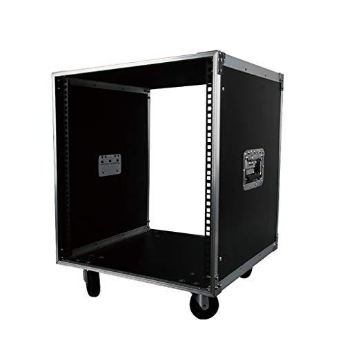 Wilk DJ Tisch Mobil 12U Amp Rack Case Universal Equipment Rack Flightcase mit Rollen für Musiker und DJ-Betreiber
