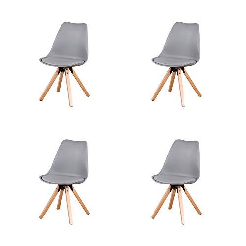 4er Set Moderner Mid-Century Esszimmerstuhl Gepolsterter Stuhl mit Beinen aus Buchenholz und weich gepolstertem Shell-Tulpenstuhl für Esszimmer Wohnzimmer Schlafzimmer Küche (Grau)