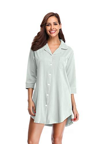 SHEKINI Damen Nachthemd aus Baumwolle Mittellange-Ärmels im Lässigen Boyfriend-Schnitt mit Umlegekragen V Ausschnitt Knopfleiste Pyjamas Tops Elegant Shirt Homewear Schlafanzug (M, Hellgrau)