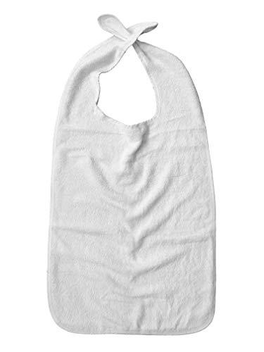 PFLEGE-POINT® Kleidungsschutz/Ess-Schürze Frottier für Erwachsene mit Steckverschluss (weiß)