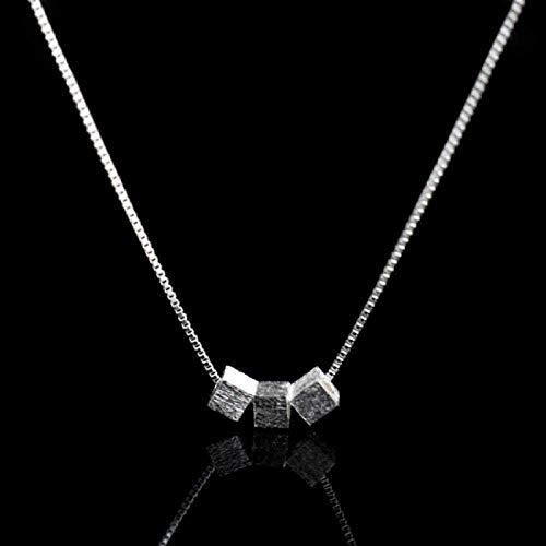 ZJJLWL Co.,ltd Collar con Colgante Cuadrado Collar de Tres Cadenas con Cuentas cuadradas Collar de clavícula para Mujer Regalo de joyería