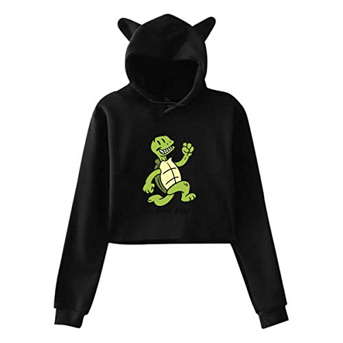 Live Slow Turtle Cat Oreille Pull À Capuche Filles Crop Top Hip Hop Warm Cool(XXL,Noir)