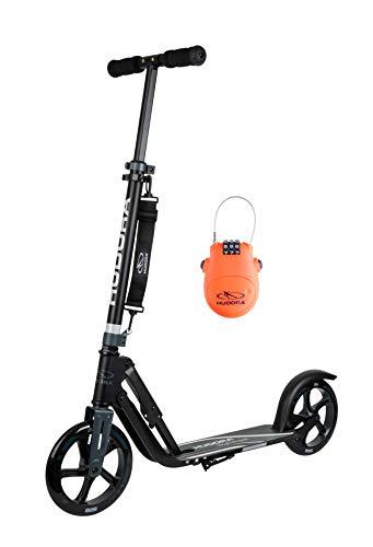 HUDORA Für Kinder & Jugendliche Original BigWheel 205 | Big Wheel Scooter inkl. Kabelschloss | Klappbarer City Tret-Roller, anthrazit/schwarz, 205 mm