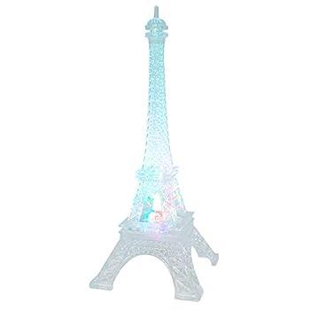 DreamsEden 3 LEDs Light Up Eiffel Tower Lamp - Color Changing Paris Decor for Bedroom Desk Cake Topper Centerpiece 9.8 Inch Height