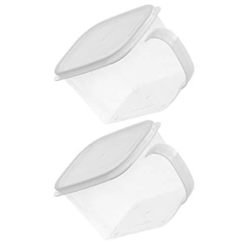 DOITOOL 2 Unidades de Plástico Contenedor de Almacenamiento de Alimentos con Manija Y Tapa Refrigerador Caja DE CONSERVACIÓN DE Frescos Contenedores Apilables Organizador de Nevera