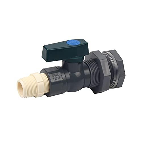 Sinolofty Grifo de agua de lluvia de 3/4 pulgadas, de PVC, válvulas con rosca de gravilla y adaptador de manguera para acuarios, piscinas, barriles de jardín