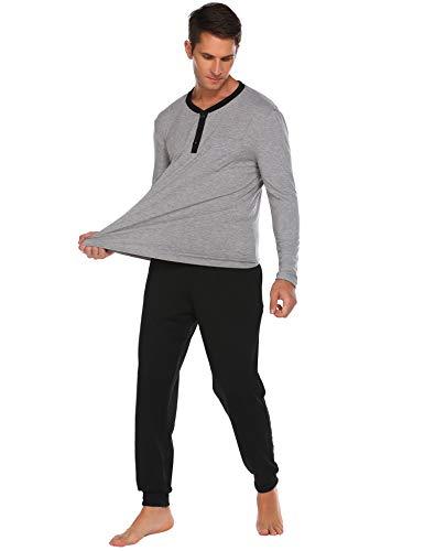 Ekouaer Schlafanzug Herren lang Zweiteiliger Pyjama Langarm Nachtwäsche Schlafhose Oberteile mit Taschen für Männer Herbst Winter Zuhause Grau L