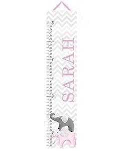 Canvas Growth Chart Pink and Grey Chevron Elephant Girls Kids Bedroom Baby Nursery Wall Art GC0231