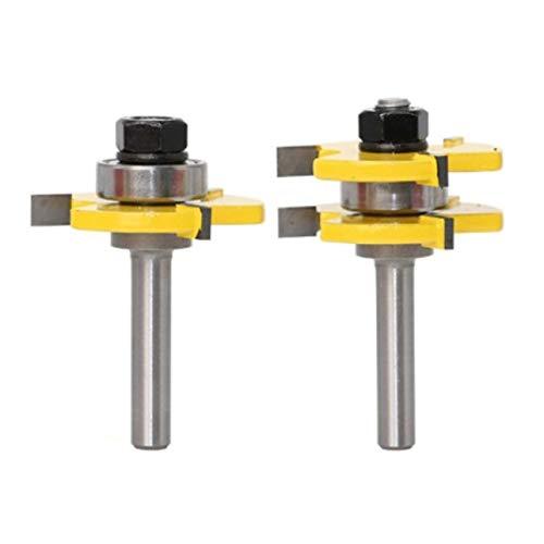 Meccion Nut- und Federfräser Set 8mm Schaft, 3/4 Zoll (19.05mm) Klinge T-Form Holz Fräsfräser Bit Professionelle Holzbearbeitung Cutter Werkzeuge