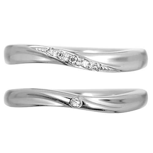 [ココカル]cococaru シルバー ペアリング 2本セット 結婚指輪 マリッジリング ダイヤモンド 日本製(レディースサイズ15号 メンズサイズ8号)