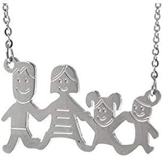 Collana famiglia family con sagoma famiglia in acciaio inossidabile, regolabile. Handmade, realizzato a mano, 33 combinazi...