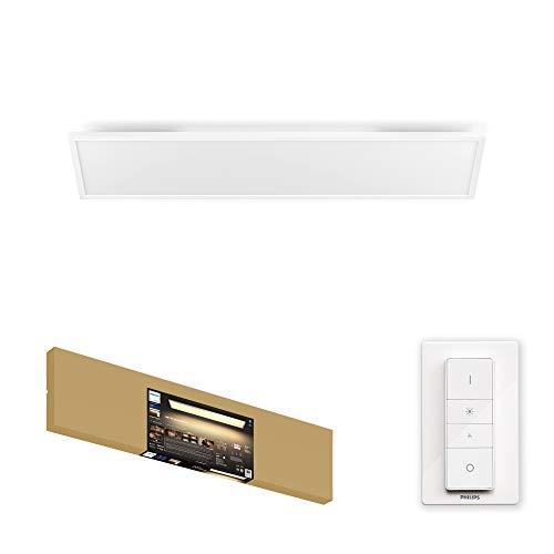 Philips Hue Aurelle Plafón/Lámpara Inteligente LED blanca rectangular con Bluetooth, Luz Blanca de Cálida a Fría, Compatible con Alexa y Google Home