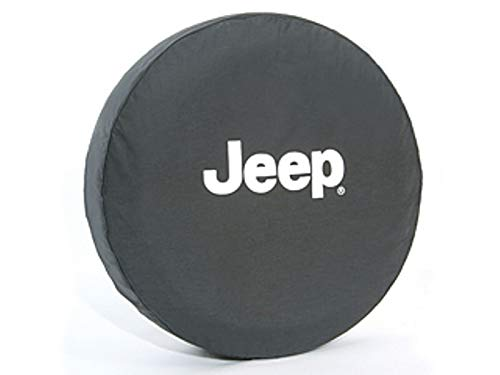 Mopar Jeep Wrangler White Jeep Logo Black Spare Tire Cover - 82209953AB