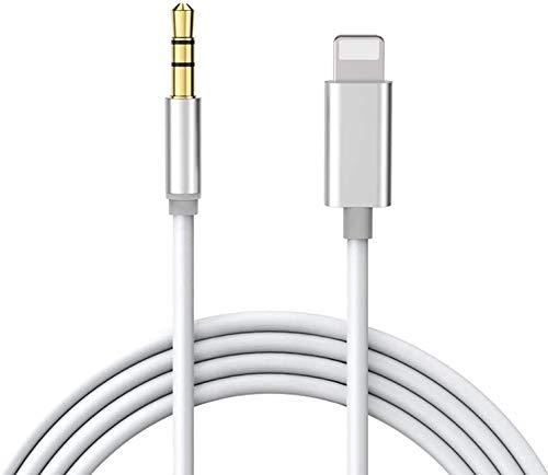 3,5 mm AUX-Kabel für iPhone zum Auto, AUX-Audiokabel, Auto-Stereo-Kabel und Kopfhöreranschluss, kompatibel mit iPhone 7/7P/8/8P/X/XR/XS/XS Max/11/11Pro/11pro Max, unterstützt iOS 13 (1m)-Silber