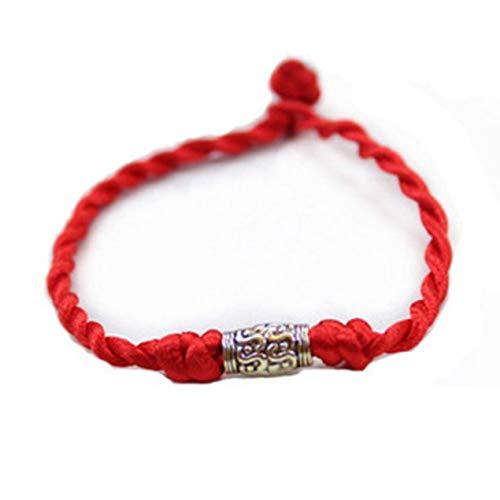 DBSUFV GiftFashion Brazalete hecho a mano Mujeres Niñas Colorida Pulsera de cadena trenzada manual (Rojo) (Oro (