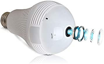 Light Bulb Camera, Dome Surveillance Camera 1080P 2.4GHz WiFi FishEye 360° Wireless Security IP Panoramic,with IR Motion Detection, Night Vision, Motion Detection, for iPhone/Android/Windows