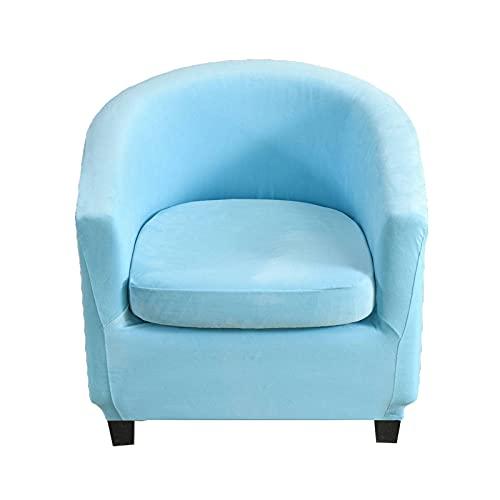 Funda de Sillón Chesterfield Terciopelo,Funda para Sillón Elástica Tub Chair 2-Pieza Lavable Antideslizante Funda de Sofá de 1 Plaza para Recepción Contador-Azul Claro