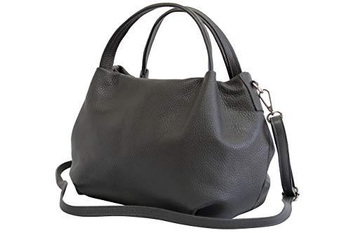 AmbraModa Damen handtasche Henkeltasche Schultertasche aus Echtleder GL023 (Dunkelgrau)