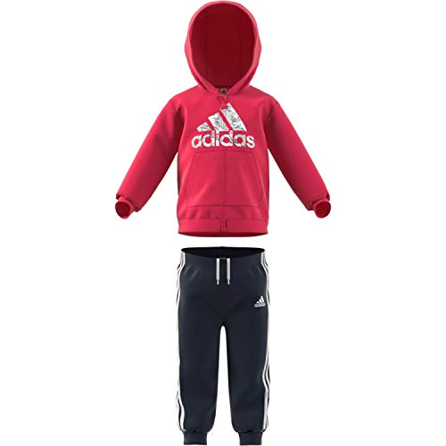 adidas I Logo FZ HD FL Tracksuit, Unisex niños, Top:Power Pink/White Bottom:Legend Ink f17/White, 2-3Y