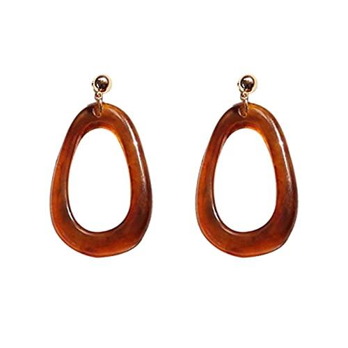 FEARRIN Pendientes de aro Vintage Pendientes de Color Personalidad Acrílico Geométrico Pendientes Redondos Joyería de Mujer Pendientes de Fiesta Regalos marrón