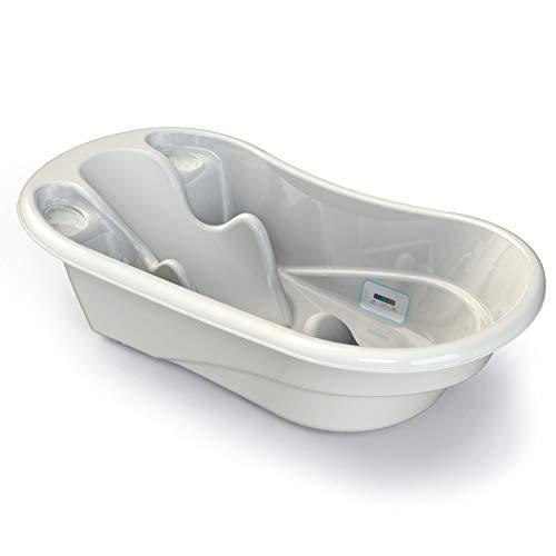 Babylon vaschetta per bagnetto Liner bagnetto neonati con termometro da bagno, accessori compatti, vaschetta bagnetto neonato 0-6/0-36 mesi, vasca bagno neonato con tappo, colore: bianco