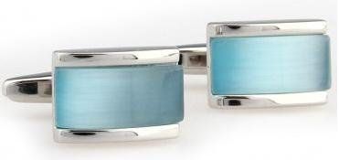 Frederick Thomas Boutons de manchette rectangulaires en cristal et verre bleu